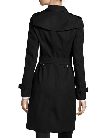 Sandringham Long Slim Trenchcoat, Black