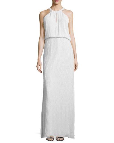 Sleeveless Column Gown W/Keyhole, White