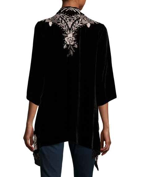 Nova Floral-Embroidered Draped Velvet Cardigan