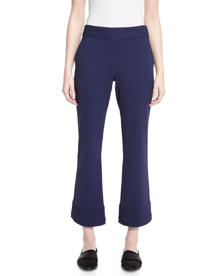 Bi-Stretch Flare-Leg Cropped Pants, Marine