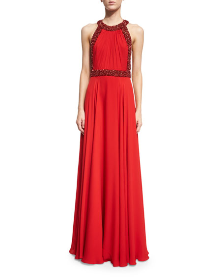 Jenny Packham Halter-Neck Embellished-Trim Gown, Russian Red