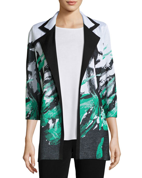 Misook Notched-Collar Graphic-Print Knit Jacket, Plus Size