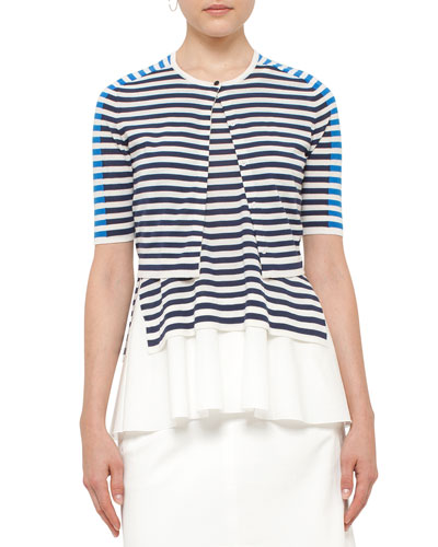 Striped Half-Sleeve Cropped Cardigan, White/Blue