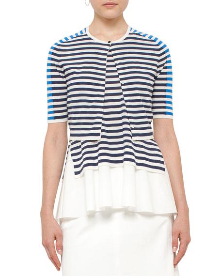 Akris punto Striped Half-Sleeve Cropped Cardigan, White/Blue