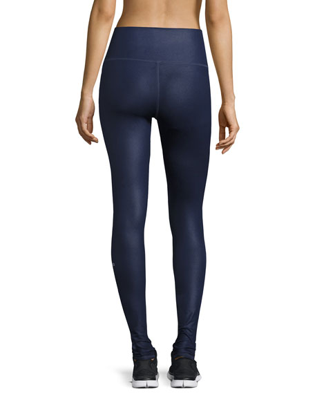Airbrush High-Waist Sport Leggings, Rich Navy Glossy