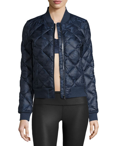 Idol Camo Quilted Active Bomber Jacket, Navy