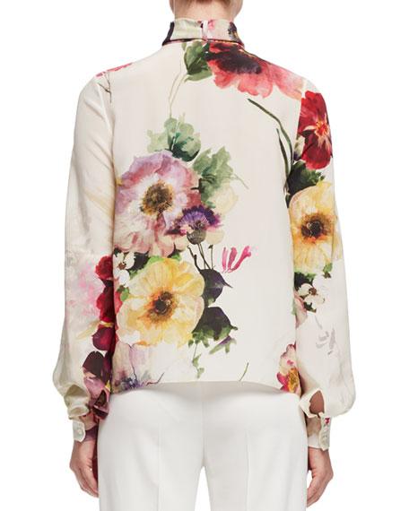 Bouquet-Print Tie-Neck Blouse, Multi
