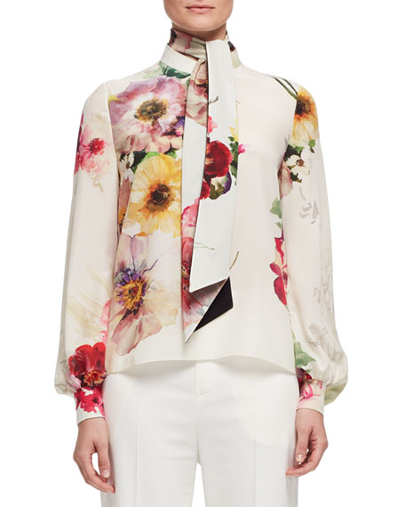 Bouquet-Print Tie-Neck Blouse, Multi