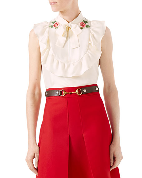 Embroidered Silk Twill Top, White