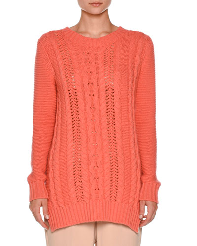 Vented Cable-Knit Pullover Sweater, Coral Pink