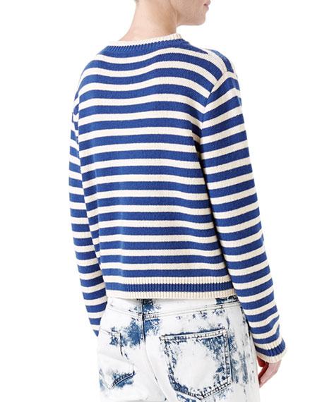 Striped Wool Knit Top, Blue