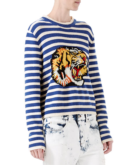 Gucci Striped Wool Knit Top, Blue