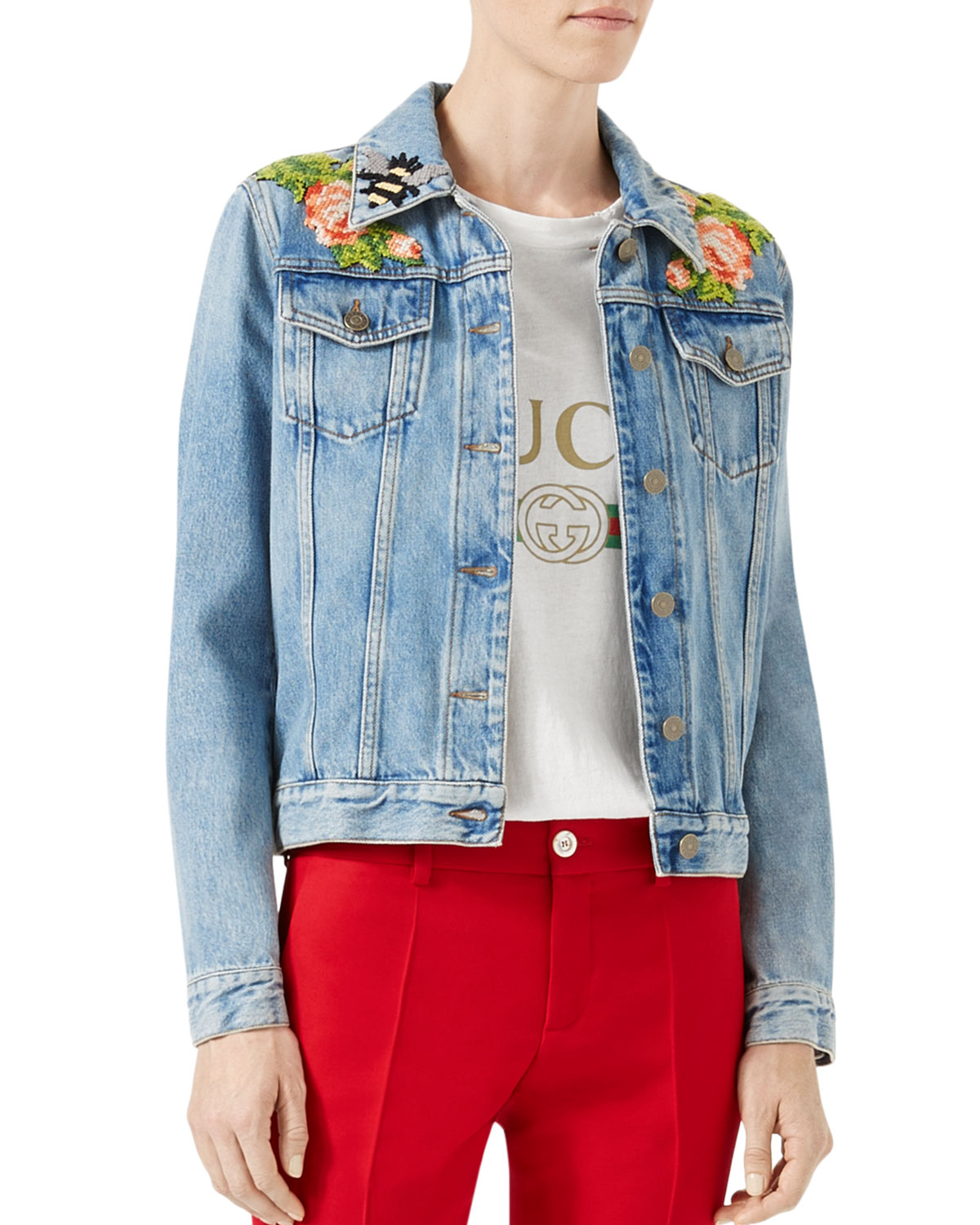 Gucci Embroidered Denim Jacket, Blue   Neiman Marcus c0e93286cbc