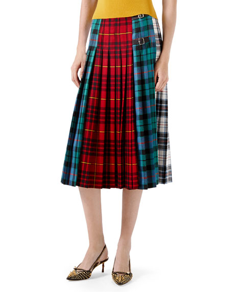 Wool Tartan Skirt, Red
