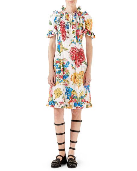 Gucci Corsage-Print Cotton Dress, Ivory