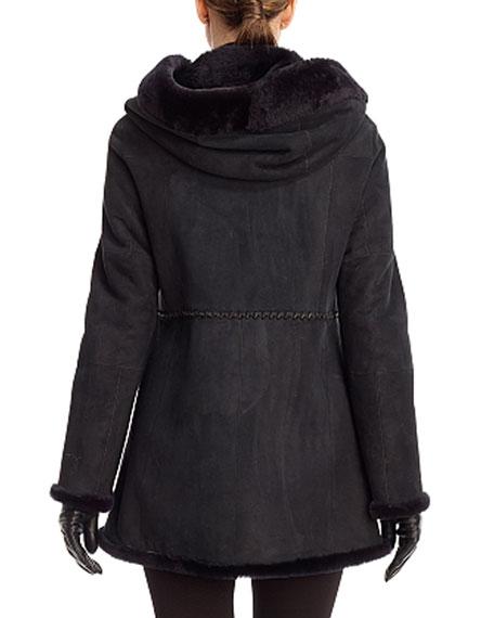 Hooded Shearling Parka Coat