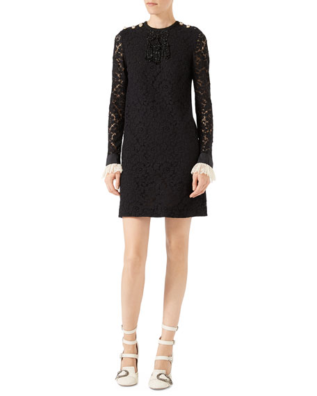 Gucci Embroidered Cluny Lace Dress, Black