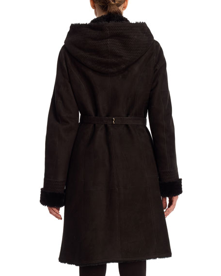 Reversible Hooded Shearling Belted Coat