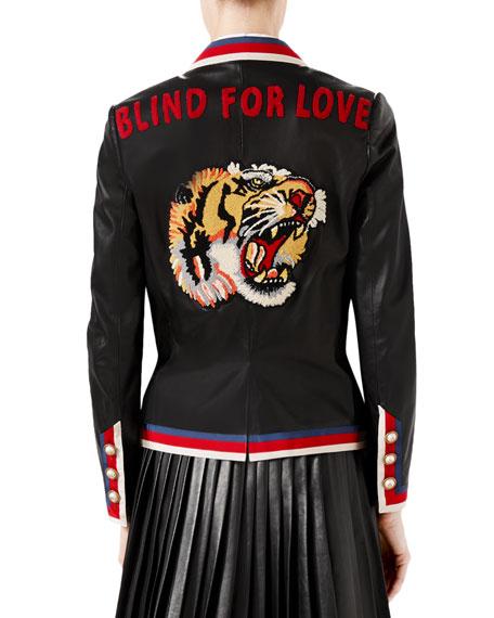Embroidered Leather Jacket, Black