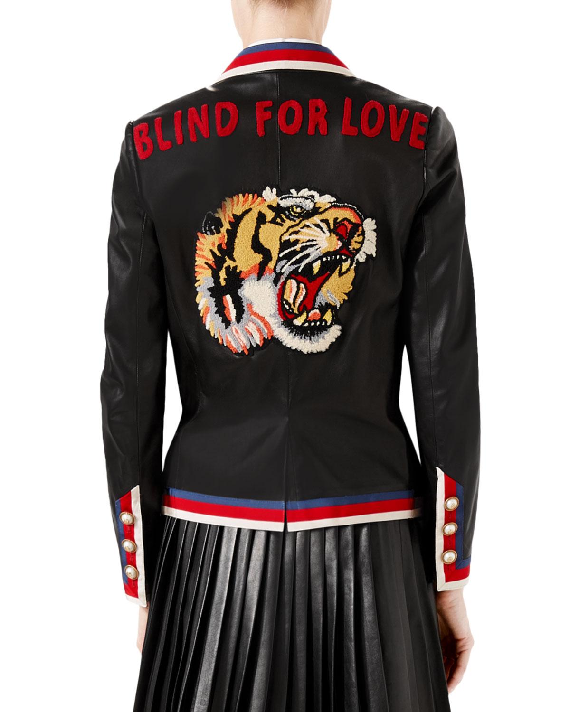 4914f8573 Embroidered Leather Jacket, Black