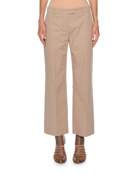 Agnona Boy Straight-Leg Cropped Pants, Light Taupe
