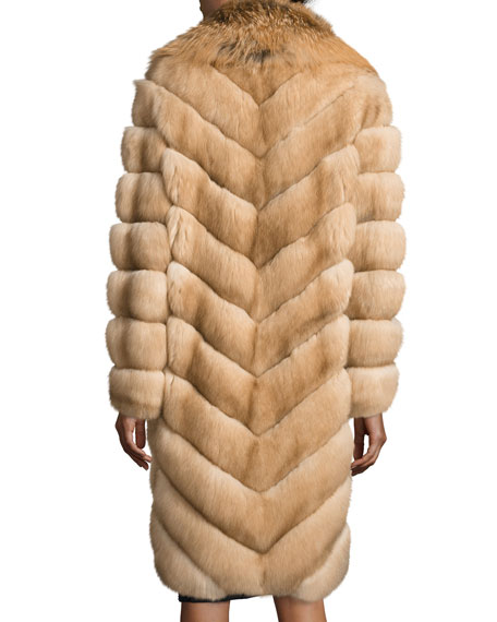 Fox-Collar Sable-Fur Coat, Tan