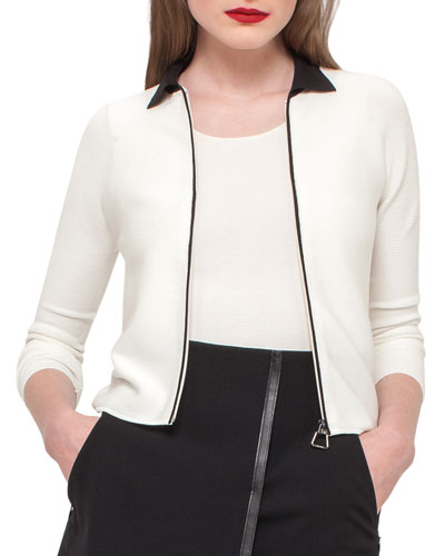 Bicolor Zip-Front Cardigan, Black/White