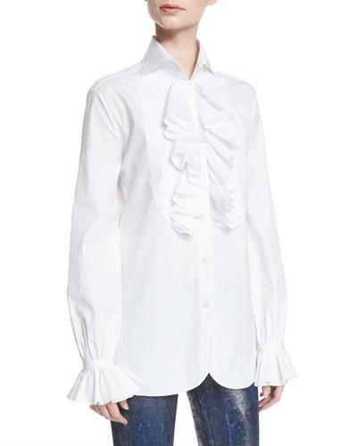 Adriana Ruffled Cotton Blouse, White