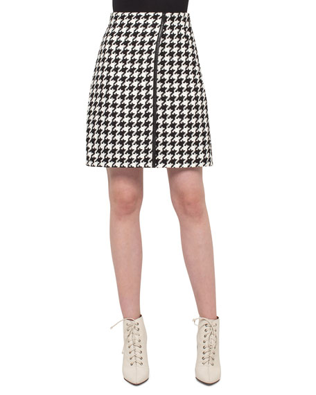 Akris Houndstooth Wrap Skirt, Black/Moonstone