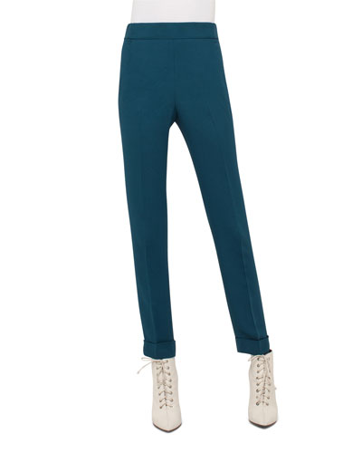 Chris Elasticized-Waist Silk Pants, Seabiscuit