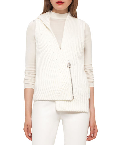 Asymmetric Wide-Rib Knit Gilet, Moonstone