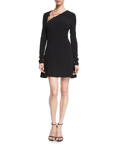 Cushnie Et Ochs Lace-Up Long-Sleeve Fit-&-Flare Dress, Black