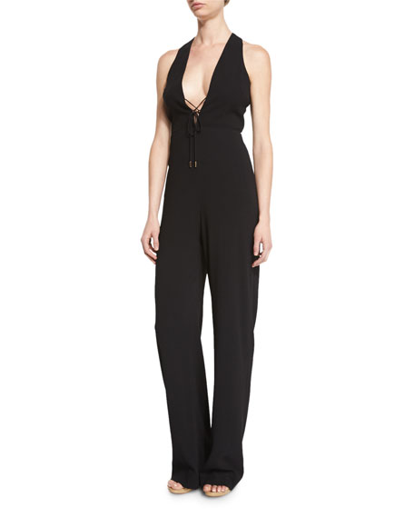 Cushnie Et Ochs Sleeveless Lace-Up V-Neck Jumpsuit, Black