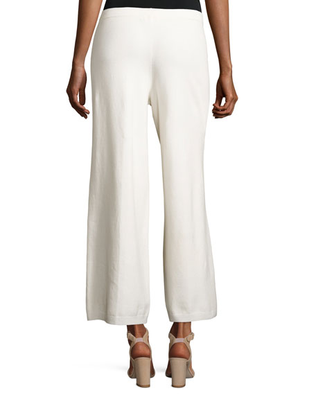 Wide-Leg Knit Easy Pants, Ivory