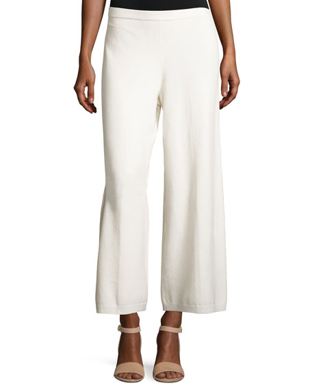 Joan Vass Wide-Leg Knit Easy Pants, Ivory