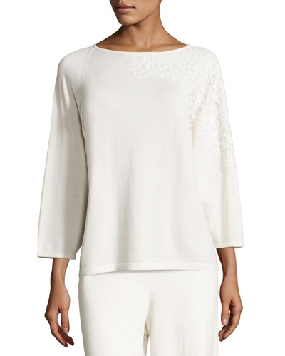 Lace-Appliqu? Sweater Top, Ivory