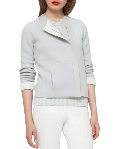 Cashmere Asymmetric-Zip Jacket, Iceman/Ivory