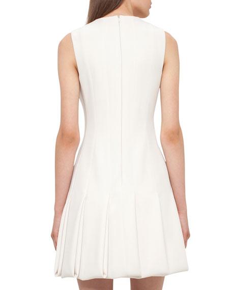Keyhole-Neck Pleated Sleeveless Dress, Moonstone