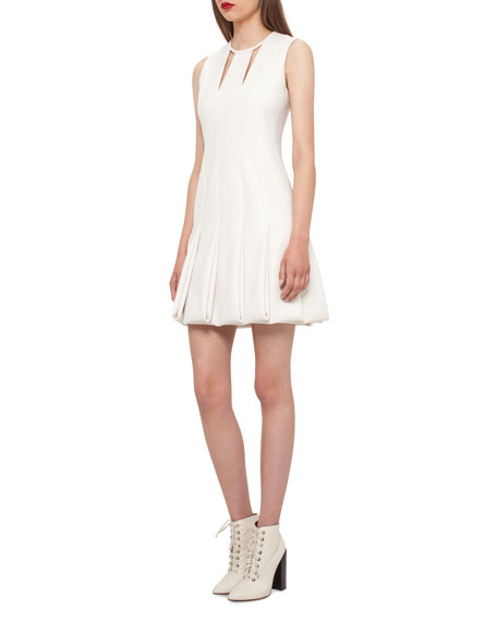 Akris Keyhole-Neck Pleated Sleeveless Dress, Moonstone
