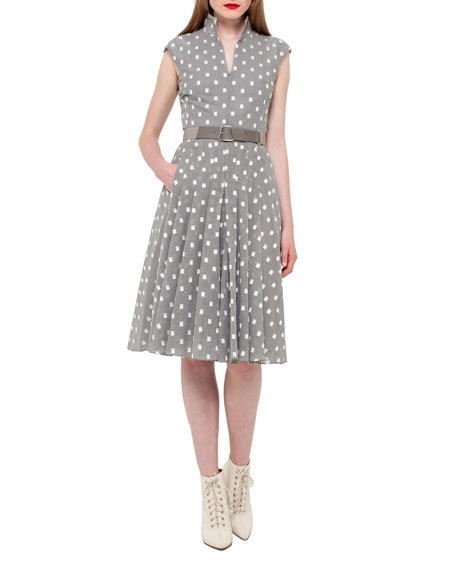Akris Square-Print Cap-Sleeve A-Line Dress, Silver/Charcoal