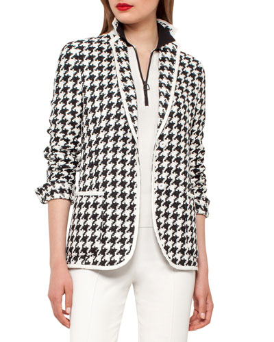 Houndstooth One-Button Blazer, Black/Moonstone