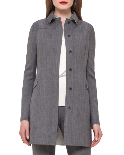 Shirt-Collar Long Jacket, Silver/Charcoal
