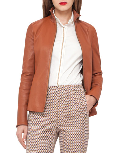 Haley Leather Zip-Front Jacket, Tan/Camel