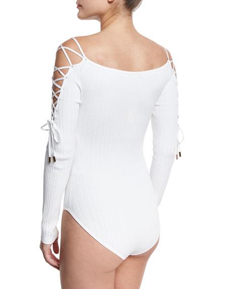Lace-Up Sleeve Bodysuit, White