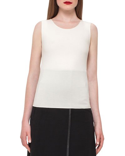 Ribbed Scoop-Neck Tank, Moonstone