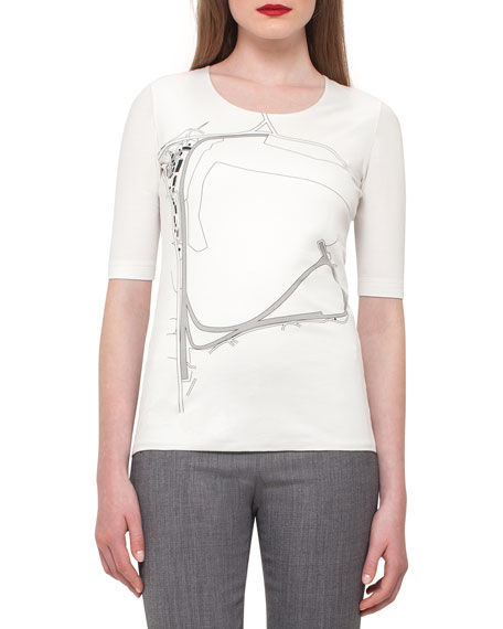 Akris Goodwood Printed Half-Sleeve Tee, Moonstone