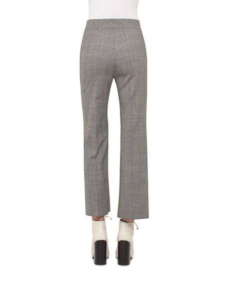 Cara Check-Print Ankle Pants, Black/Moonstone