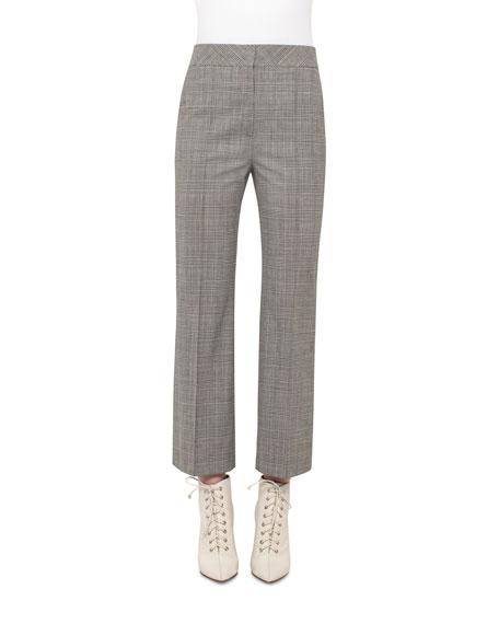 Cara Check-Print Ankle Pants, Black/Moonstone
