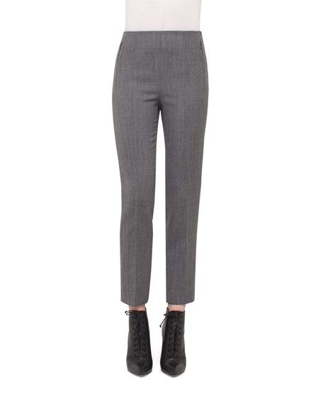 Akris Conny High-Waist Ankle Pants, Silver/Charcoal