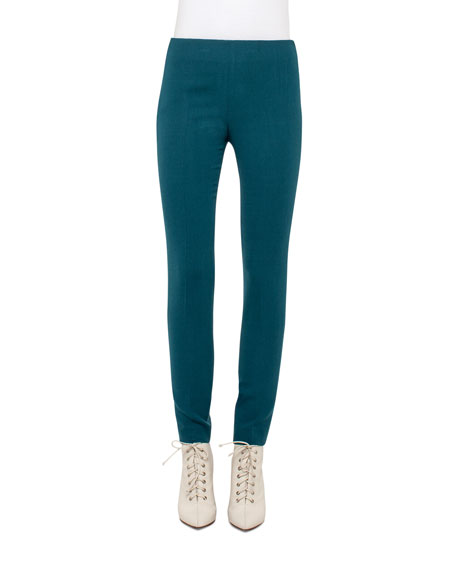 Akris Melissa Wool-Blend Skinny Pants, Seabiscuit Teal